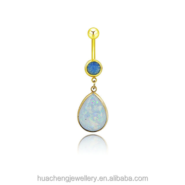 opal water drop belly button ring fashion navel ring