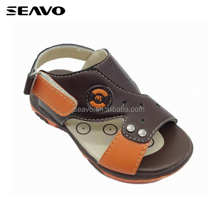 SEAVO SS17 cute customer 3d rubber design brown pu leather upper cheap boys sandals for sale