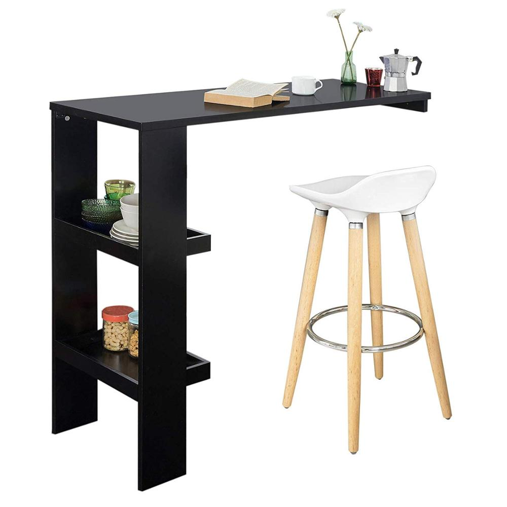 Wall Mounted Kitchen Breakfast <strong>Bar</strong> Table Dining Table Coffee <strong>Bar</strong> with 2 Storage Shelves (Stool Not Included)