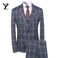 Men's Plaid Tweed 3 Piece Suit Slim Fit One Button Dinner Suit Tuxedo formal jacket pants sets office wear