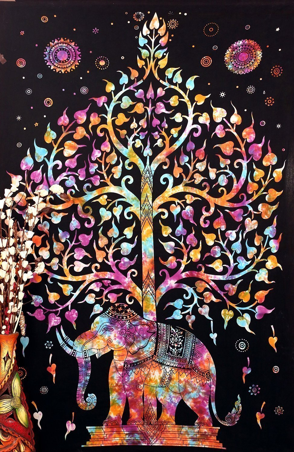 """Popular Handicrafts Tree of Life Psychedelic Tapestry Wall Hangings Elephant Tree of life Tapestry wall art Multi tye dye 54""""x82"""""""