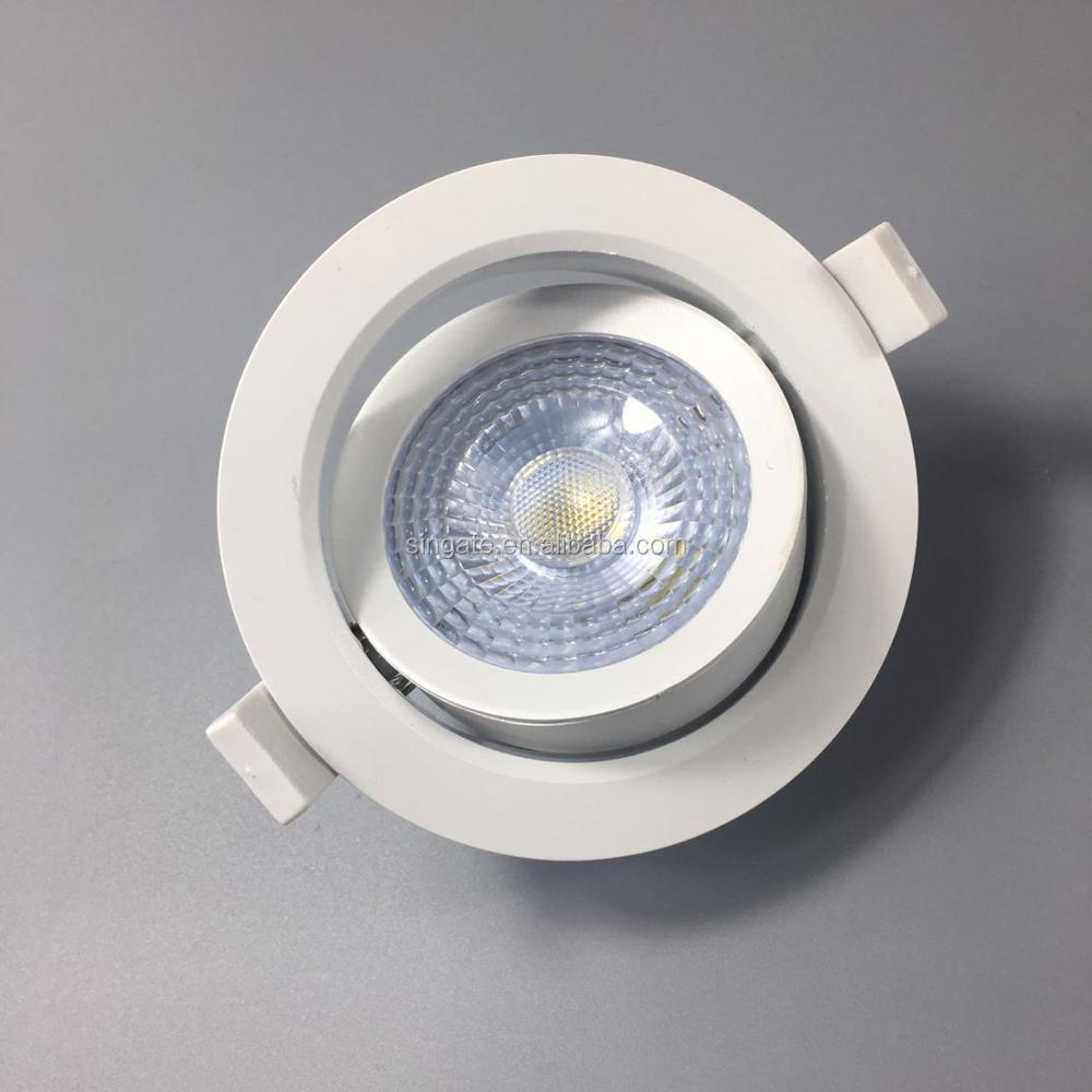 2018 Commercial Lighting New 3w 5w 7w Recessed Economic PC body White Square Round LED Downlight