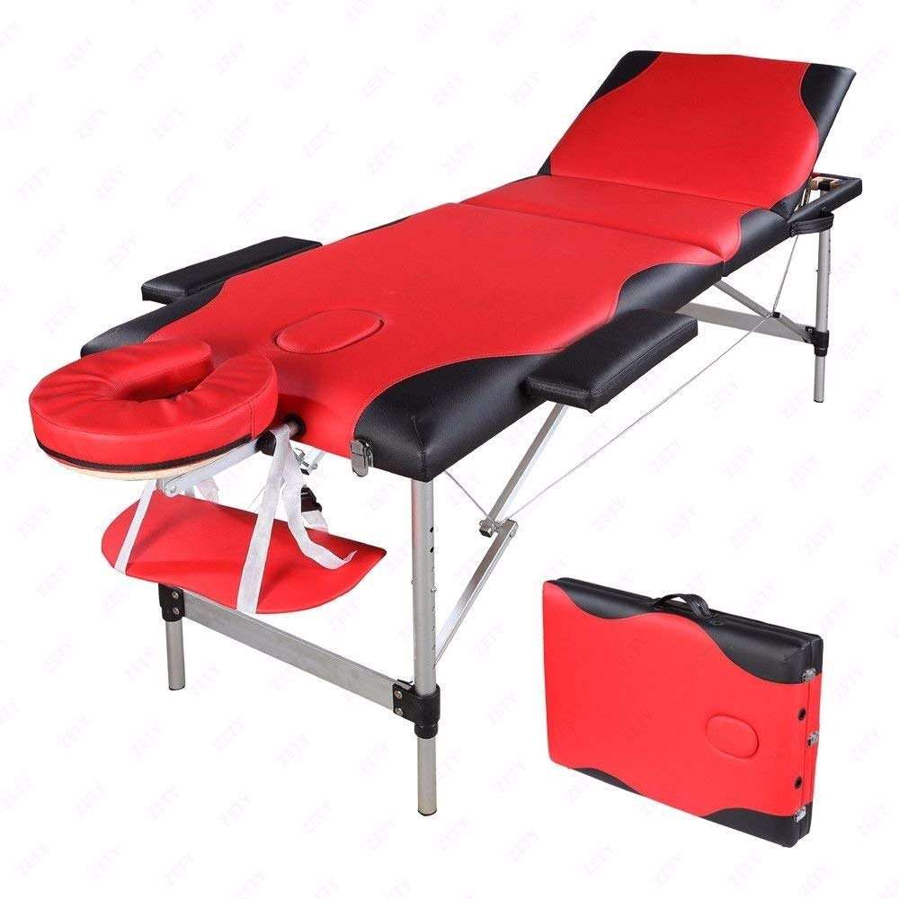 "Mefeir 73"" Portable Comfort 3 Section Massage Table All-Inclusive Adjustable Headrest &Height, Professional Folding Facial SPA Bed"