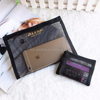 Lady Travel Promotion Clear Transpa Mesh Makeup Cosmetic Bag Make Up Pouch Ping