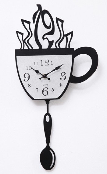 A006 Coffee cup swing wall clock time personality Wall clock times quartz watch the clock home decoration fashion new art design