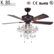 Decorative Chandelier Crystal Candle Lamp 5 Blades Ceiling Fan With Light