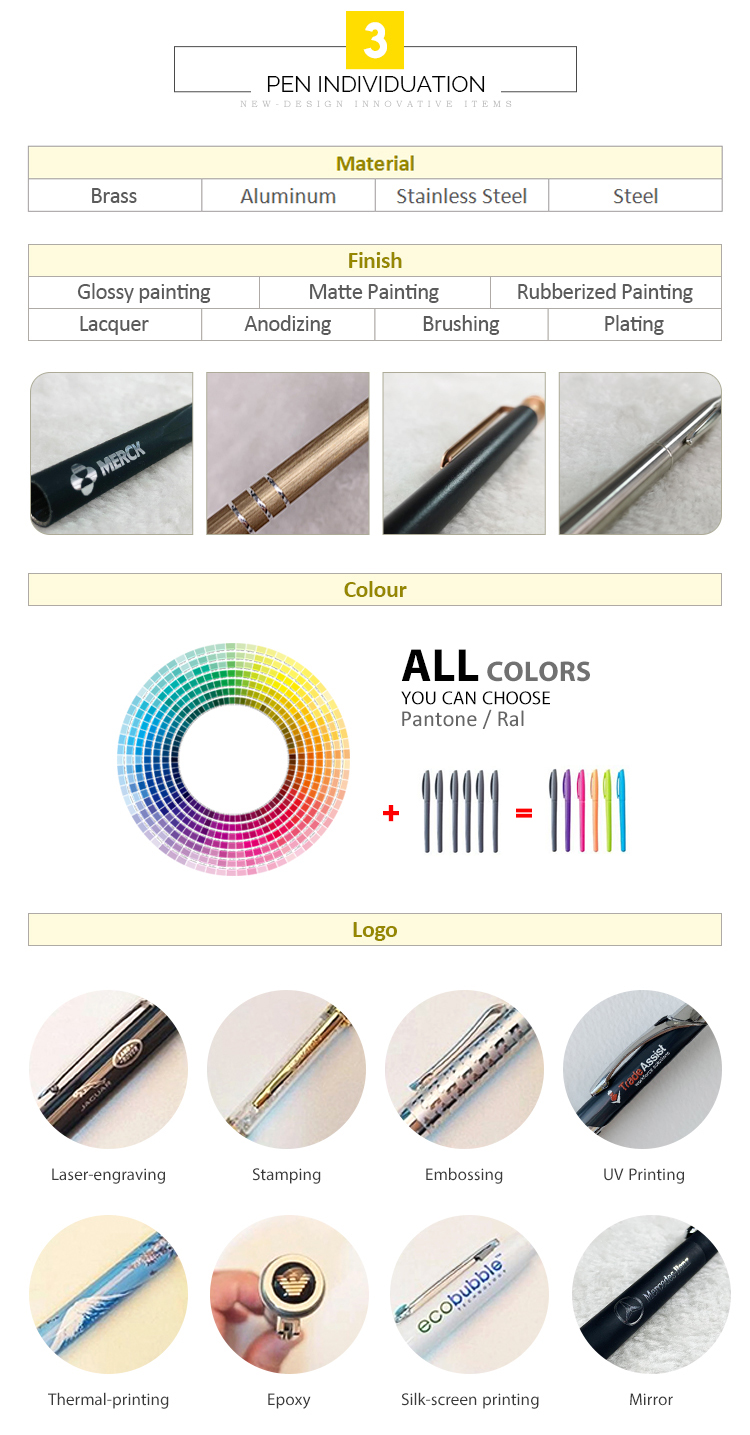 customized design metal ballpoint pen with stylus screen for business office custom logo boligrafo