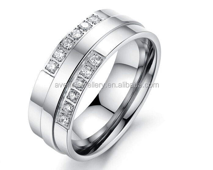 For Him& Her Jewelry Stainless Steel Rings with Zircon Band Engagement Rings
