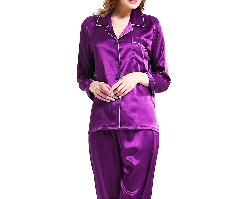 c4cbdd940f Get Quotations · Sorses Womens Silk Satin Pajamas Pyjamas Set Sleepwear  Loungewear