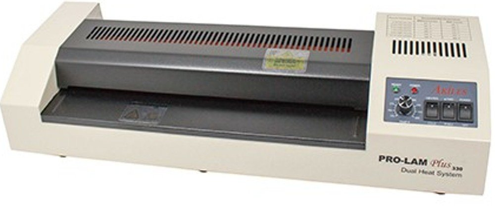 Akiles Prolam Plus 330 Dual Heat System Laminator, 13″ (330 mm) Throat Capacity, 23″/min Max Laminating Speed, 10 mil Max Pouch Thickness, 1 mm Max Laminating Thickness, 2 Hot/2 Cold Heated Roller System