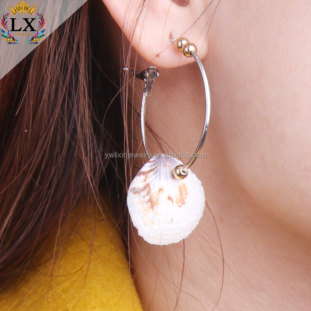 ELX-00192 wholesale fashion jewelry shell drop big custom hoop earrings for young women