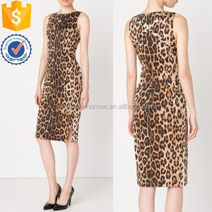 Fashionable sleeveless sexy stretch cotton leopard print fitted midi short dress