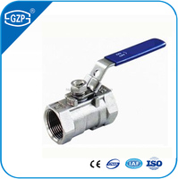 GZP brand industrial used 1 inch 2 inch 3 inch 4 inch NPT BSPT screw end 1000WOG one piece ball valve for water dealing