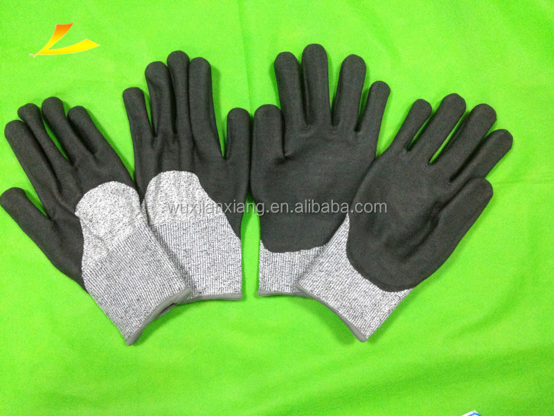 water based PU 3/4 coated cut resistant working glove