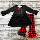 Christmas Kids Clothes Icing Ruffle Top with Ruffle Red Chequer Printing Pants Girls Clothing Sets Baby Outfits