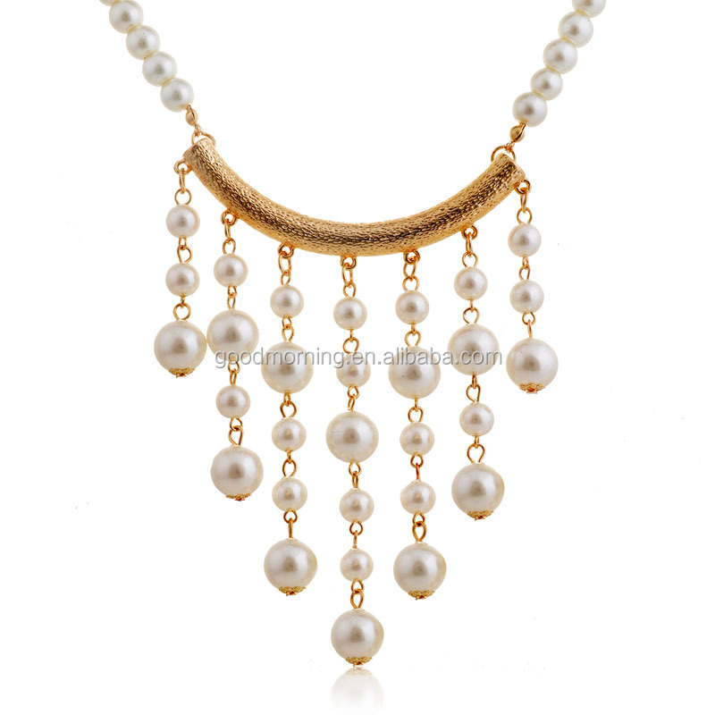 Fashion New Design Gold Channel Pearl Chain Pearl Beads Tassel ...