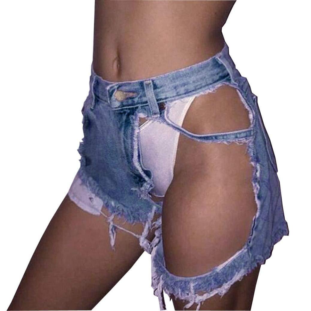 Jushye Clearance!!! Women's Jeans Shorts, Ladies Sexy Summer Ripped Denim Shorts Worn Loose Shorts Pants