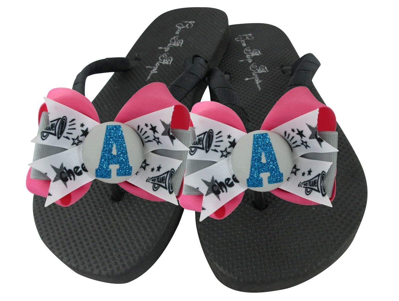 cfc6588a9a14 Get Quotations · Cheer Bow Flip Flops - Pink   Turquoise or Choose Ribbon    Glitter Colors