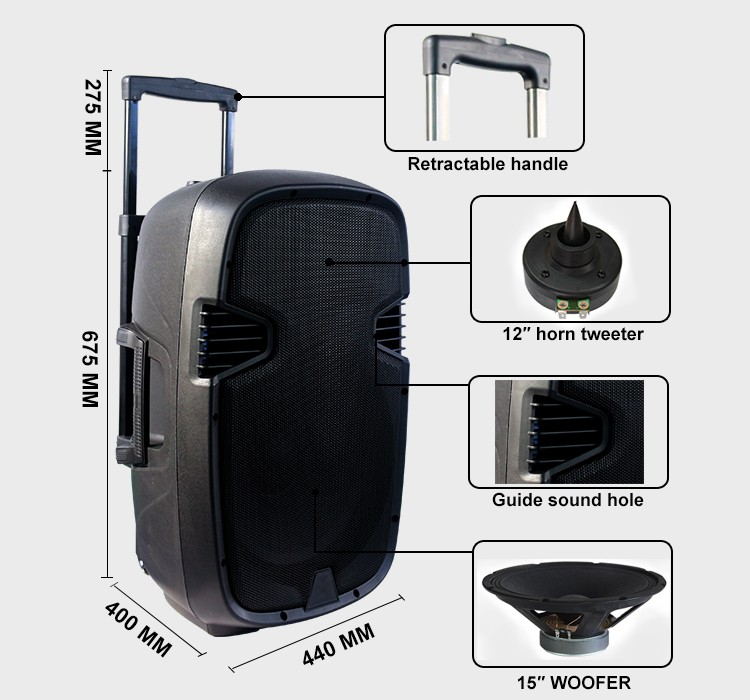 Cheap Wireless Portable Pa System 15 Inch Plastic Active Music ...