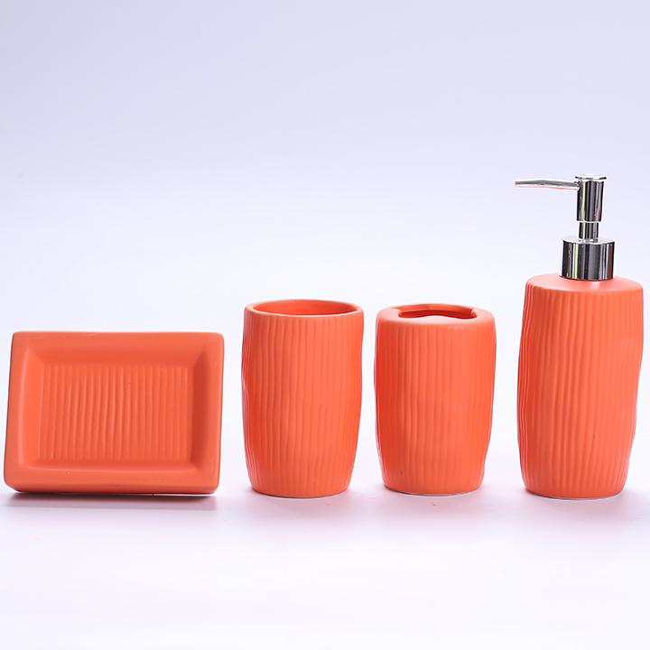 Vente Chaude Orange Accessoires Couleur Céramique Salle De Bains