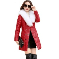 Autumn and winter new product urban long pure color PU leather women's cotton-padded jacket with rice white collar