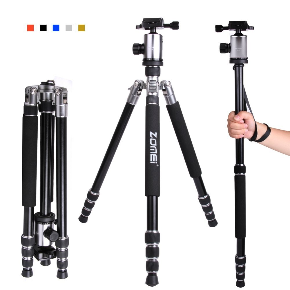"Zomei Z818 65-inch Lightweight Camera Tripod, Aluminum Portable Detachable Monopod, 360 degree Ball Head, 1/4"" Quick Release Plate with Carrying Bag for Canon Nikon Sony - 33lbs(15kg) Load (Silver)"