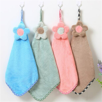 Cheap Wholesale Microfiber Towels Loop Hanging Kitchen Hand Towel With customer Logo