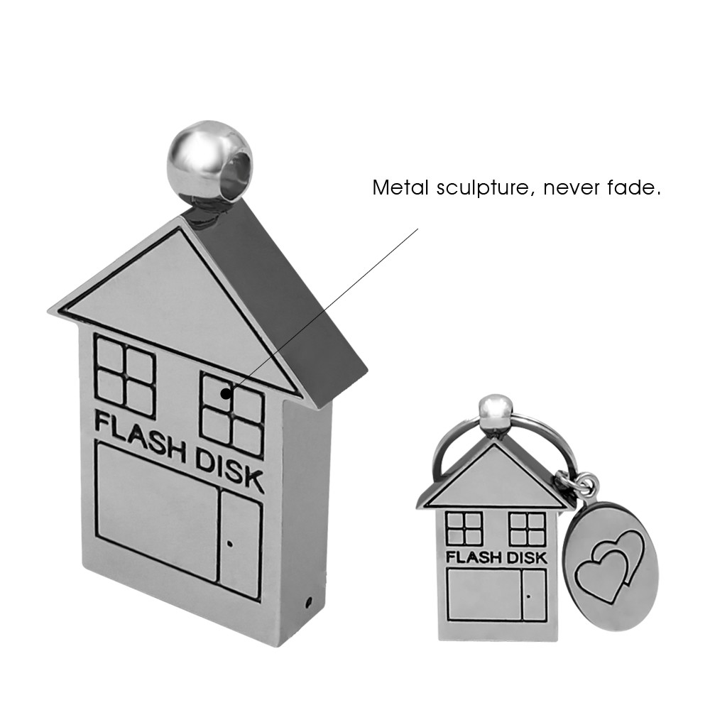 House Shaped Metal USB Flash Drive 8GB with Custom Logo Key Chain Full Capacity 16gb Stick Pen