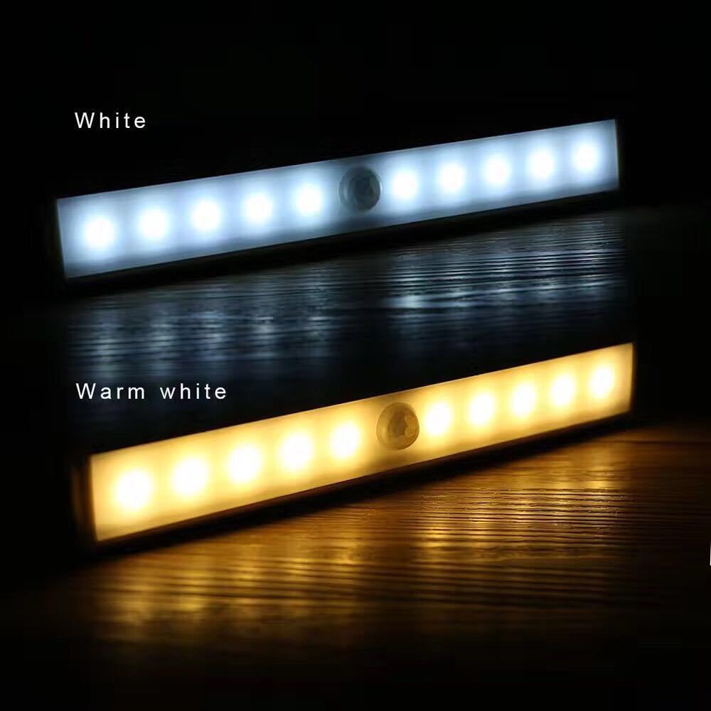 Shareus 10 led USB rechargeable closet wall pir small indoor led night motion sensor light