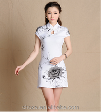 C12205A Ink Printing QiPao Cotton Dress With Short Sleeves