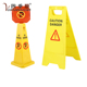 Customer Designed Yellow Plastic Caution Sign Stand Board