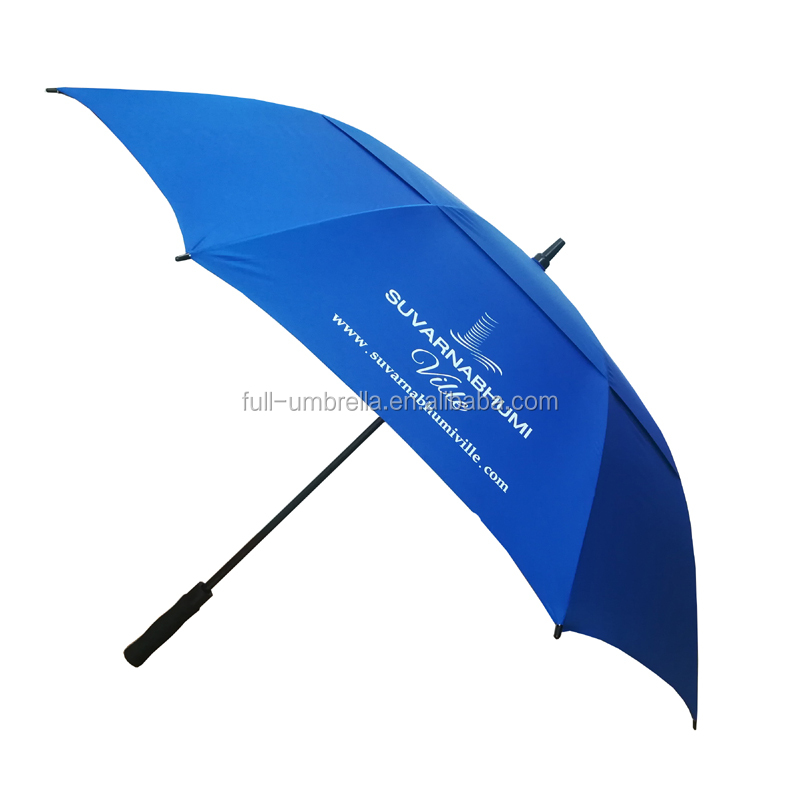 Custom printed promotional double layers windproof large umberlla protection golf umbrella with sun protection