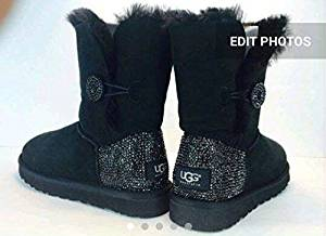 Get Quotations · Custom Bailey Buttom UGG Boots Made with Swarovski Crystals  Free  Shipping 61733971c