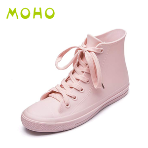 100% waterproof pink lace up ankle boots pvc transparent ankle rain boots for kids