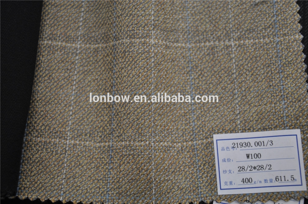 Fine quality stock service wool 400g/m plaid jacket fabric