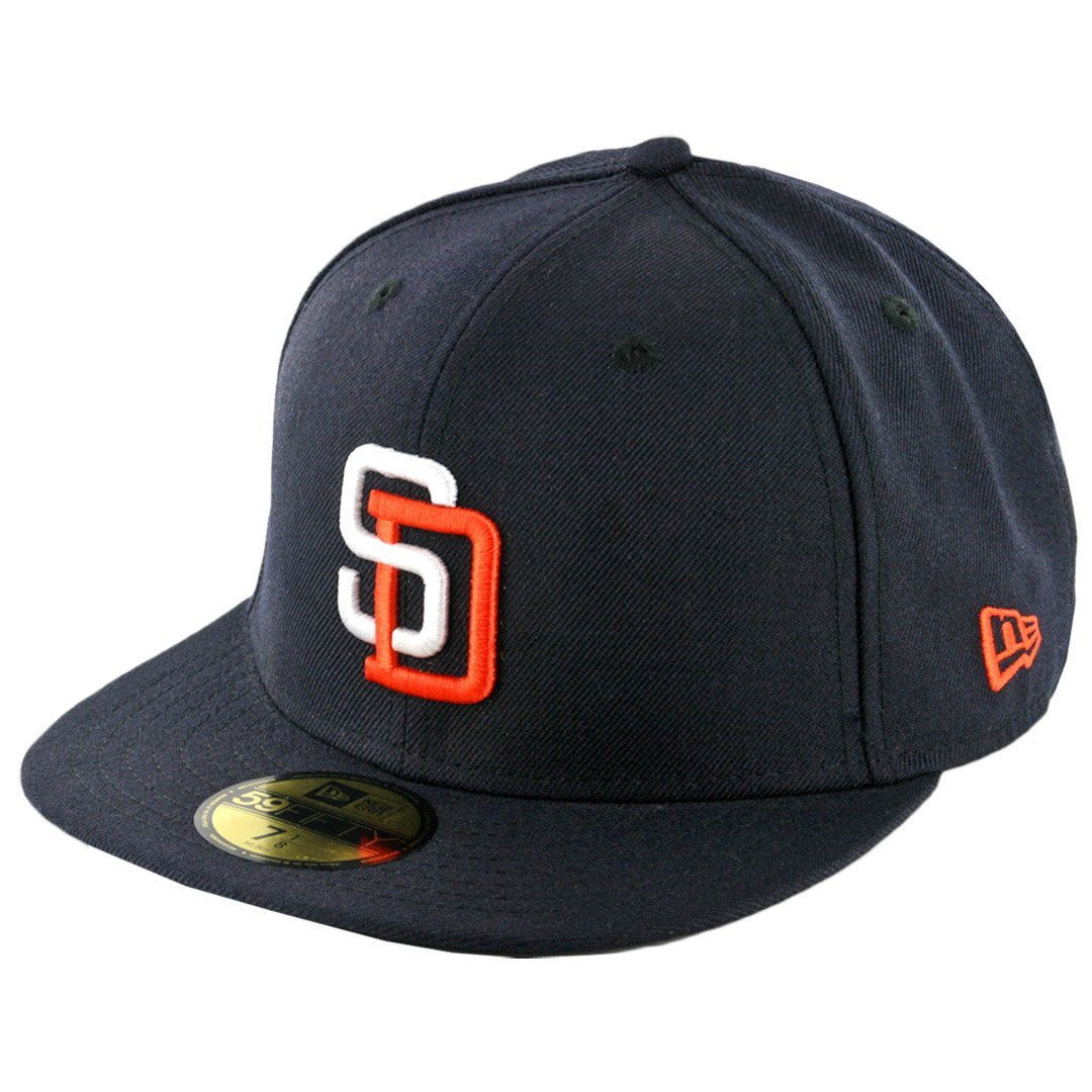 Men/'s MLB Cap New Era 5950 San Diego Padres Fitted Hat Graphite//Black Red-BK