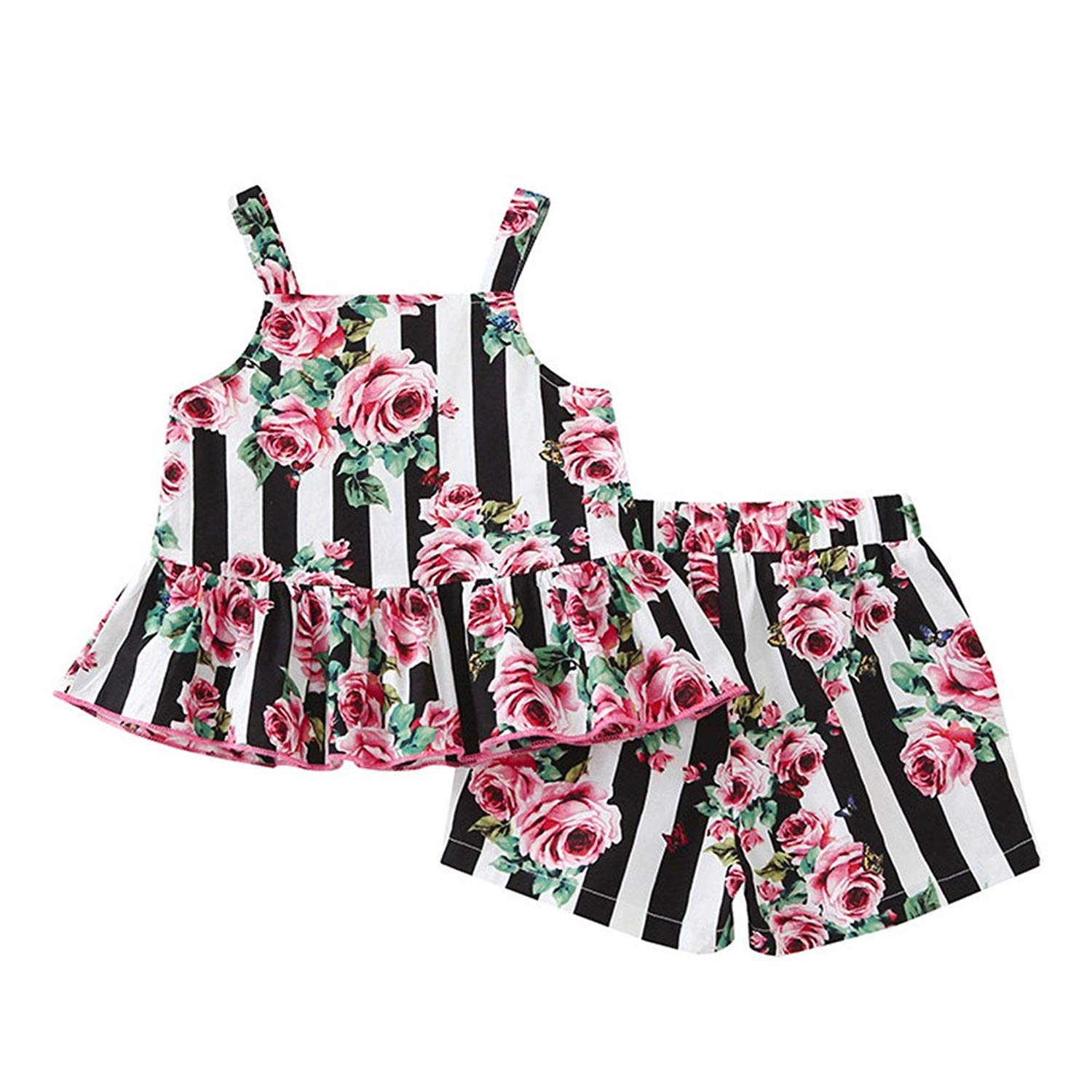 a10d32de3752a0 Get Quotations · Fineser Summer Lovely Baby Girls 2Pcs Outfits Cute Striped  Flower Tops+ Shorts Casual Clothes Sets