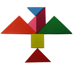 Wholesale custom wooden toys Tangram Colorful high quality jigsaw puzzles