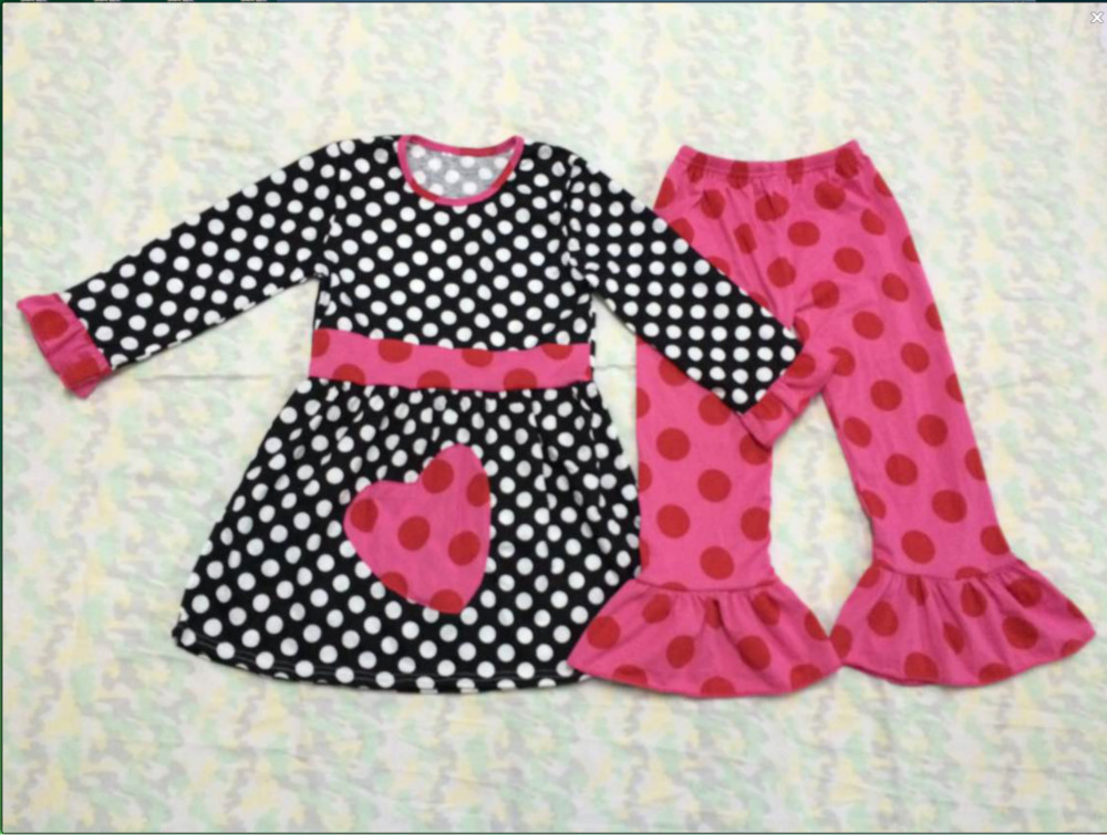 7680997cf 2015 Infant Girls Valentine Day Two Pieces Cotton Big Ruffle Pants Baby  Boutique Outfits Hot Fashion