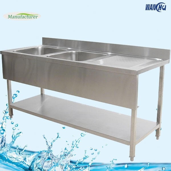 Square Legs Stainless Steel Kitchen Sink Work Table/Singapore Double Bowls  Kitchen Sink Bench Factory - Square Legs Stainless Steel Kitchen Sink Work Table/singapore