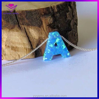 26 Letter Opal Best Selling Opal Stone Letter A B C D E F G Pendant Beads Necklace