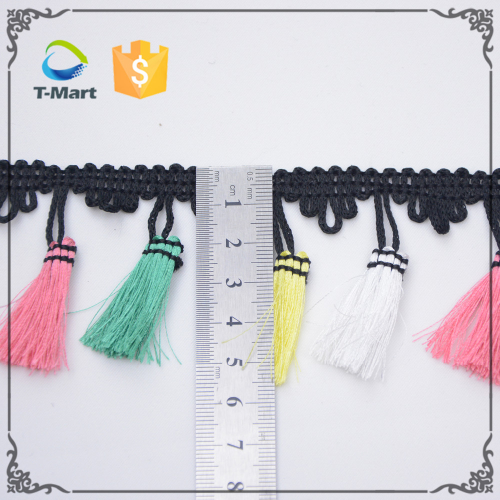 Multi color lovely small size craft pom poms lace for dress