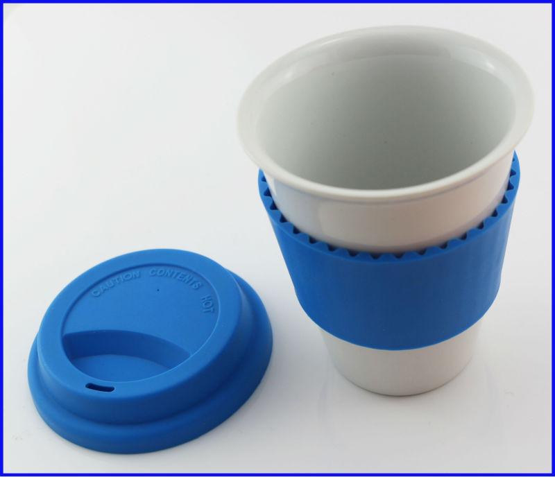 Ceramic Travel Coffee Mugs With Silicone Lid Plain White Mug Personalized Bulk Product On