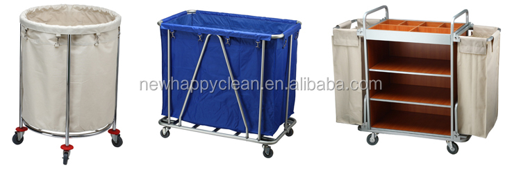 Multifunction hotel restaurant Commercial Housekeeping Hotel Trolley Janitor Cleaning Cart 3-Shelf Cart With Yellow or blue Bag