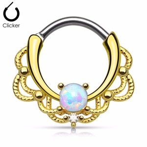 Fashion Opal Septum Clickers Body Piercing Jewelry