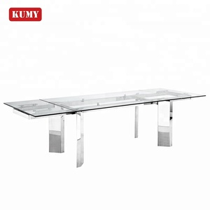 Modern luxury dining room furniture 12 seater chrome iron leg extendable rectangle large12mm tempered glass dining table