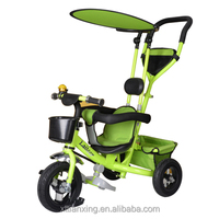 2016 new model half canopy steel frame baby stroller tricycle with steering push bar
