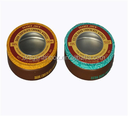 2016 New designed round love bracelet tin box with window