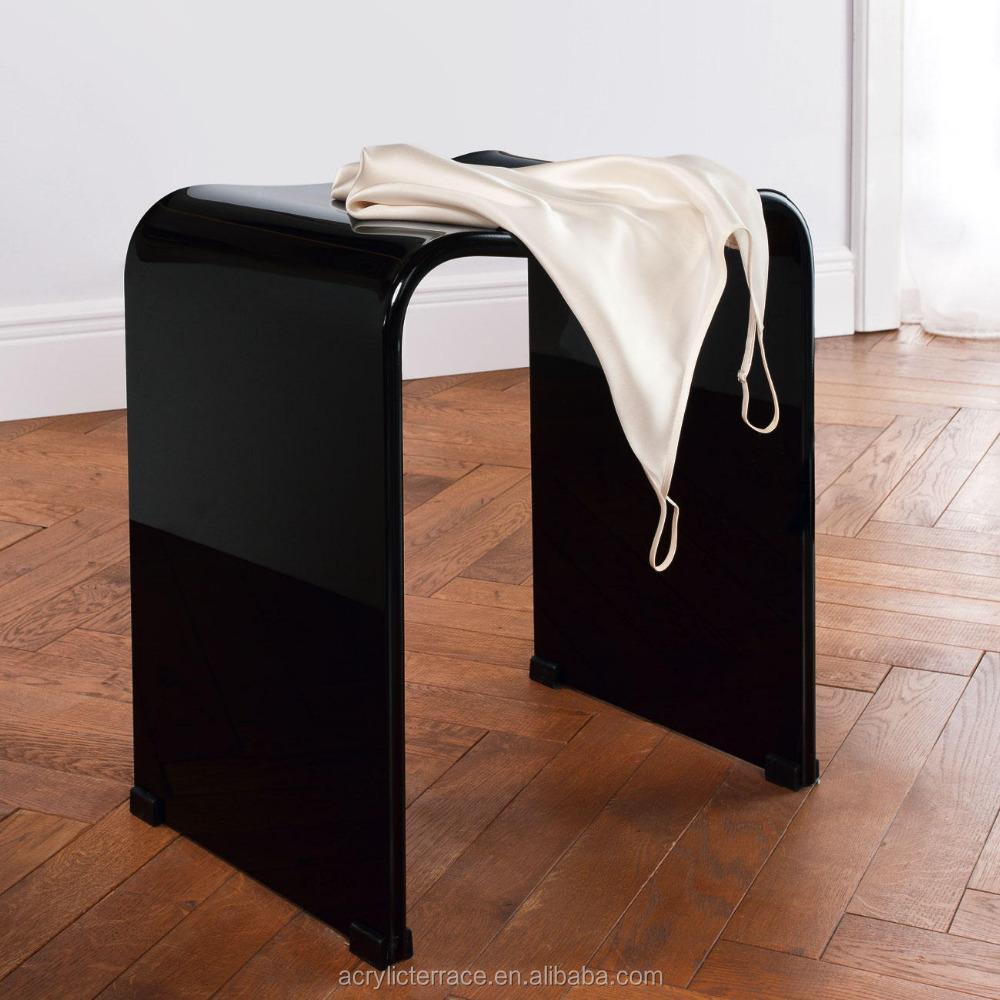 glossy black white acrylic shower stool plain plastic stool