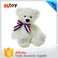 Molly White Bear with Color Ribbon Plush Animal Toy